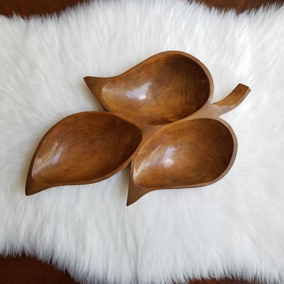Vintage Other - Boho Vintage Leaf Shaped Wooden Tray